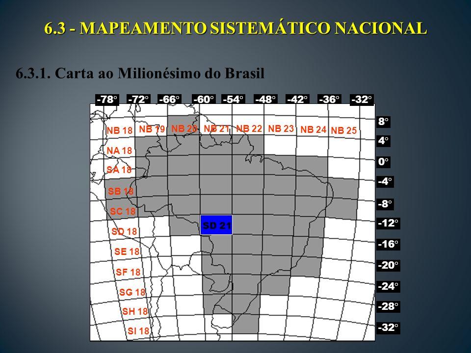 6.3 - MAPEAMENTO SISTEMÁTICO NACIONAL -72 -66 -60 -54 -48 -42 -36 8 -4 -12 -20 -28 4 0 -8 -16 -24 -32 -78 NB 18 NA 18 SA 18 SB 18 NB 19 NB 20NB 21NB 22NB 23 NB 24 NB 25 SC 18 SD 18 SE 18 SF 18 SG 18 SH 18 SI 18 SD 21 6.3.1.