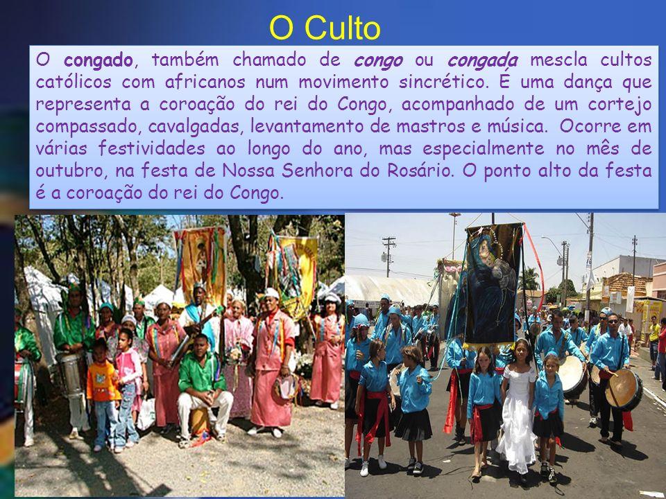 O congado, também chamado de congo ou congada mescla cultos católicos com africanos num movimento sincrético. É uma dança que representa a coroação do