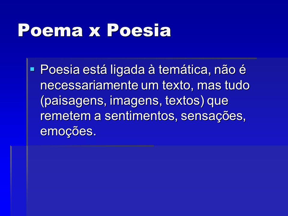 Poema x Poesia Poesia está ligada à temática, não é necessariamente um texto, mas tudo (paisagens, imagens, textos) que remetem a sentimentos, sensaçõ
