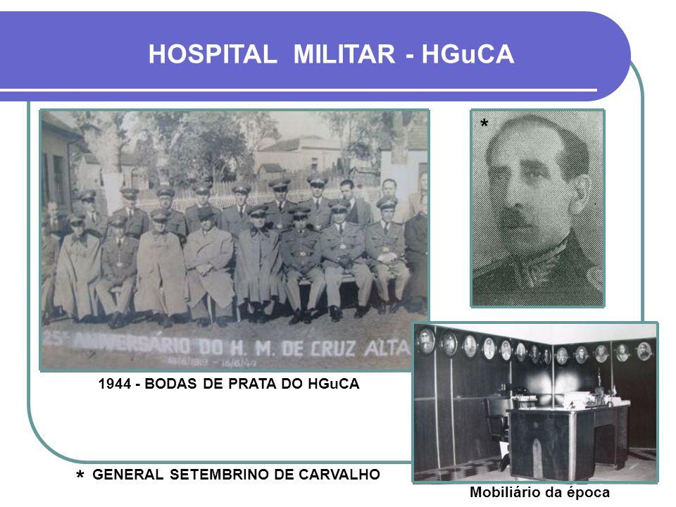HOSPITAL MILITAR - HGuCA FOI CRIADO POR DECRETO EM 1919, PORÉM COMEÇOU A FUNCIONAR EM 1923 - ATÉ ENTÃO INSTALADO NAS DEPENDÊNCIAS DO QUARTEL 8º R.I. -