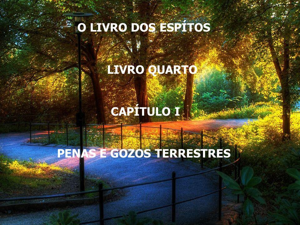 O LIVRO DOS ESPÍTOS LIVRO QUARTO CAPÍTULO I PENAS E GOZOS TERRESTRES