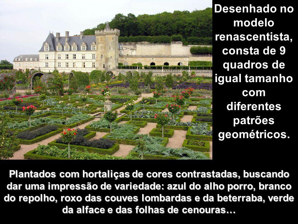 A horta: A horta: No terraço mais baixo, entre o castelo e povoado de Villandry, se encontra o jardim dos vegetais, quiçá a parte mais famosa dos jard