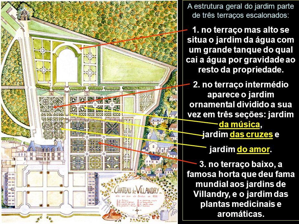 A estrutura geral do jardim parte de três terraços escalonados: 1.