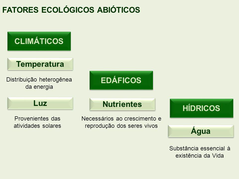 Temperatura Luz Água Nutrientes Distribuição heterogênea da energia Provenientes das atividades solares Substância essencial à existência da Vida Nece