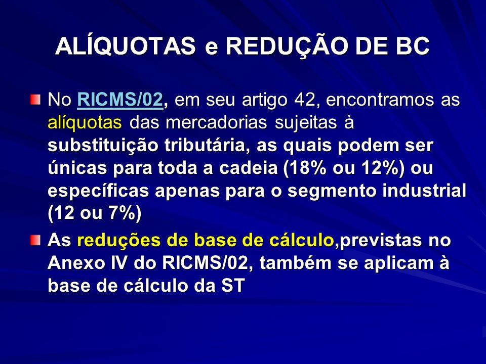 ALÍQUOTAS e REDUÇÃO DE BC No RICMS/02, em seu artigo 42, encontramos as alíquotas das mercadorias sujeitas à substituição tributária, as quais podem ser únicas para toda a cadeia (18% ou 12%) ou específicas apenas para o segmento industrial (12 ou 7%) RICMS/02 As reduções de base de cálculo,previstas no Anexo IV do RICMS/02, também se aplicam à base de cálculo da ST