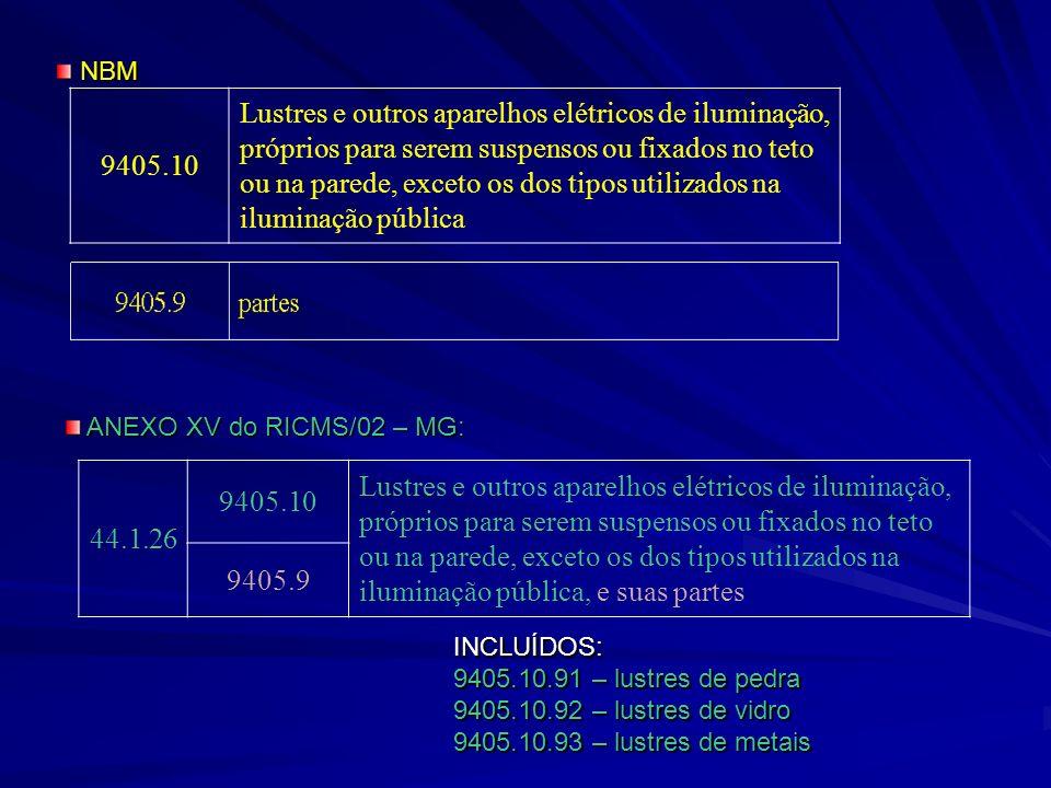 44.1.26 9405.10 Lustres e outros aparelhos elétricos de iluminação, próprios para serem suspensos ou fixados no teto ou na parede, exceto os dos tipos utilizados na iluminação pública, e suas partes 9405.9 INCLUÍDOS: 9405.10.91 – lustres de pedra 9405.10.92 – lustres de vidro 9405.10.93 – lustres de metais ANEXO XV do RICMS/02 – MG: ANEXO XV do RICMS/02 – MG: 9405.10 Lustres e outros aparelhos elétricos de iluminação, próprios para serem suspensos ou fixados no teto ou na parede, exceto os dos tipos utilizados na iluminação pública NBM NBM