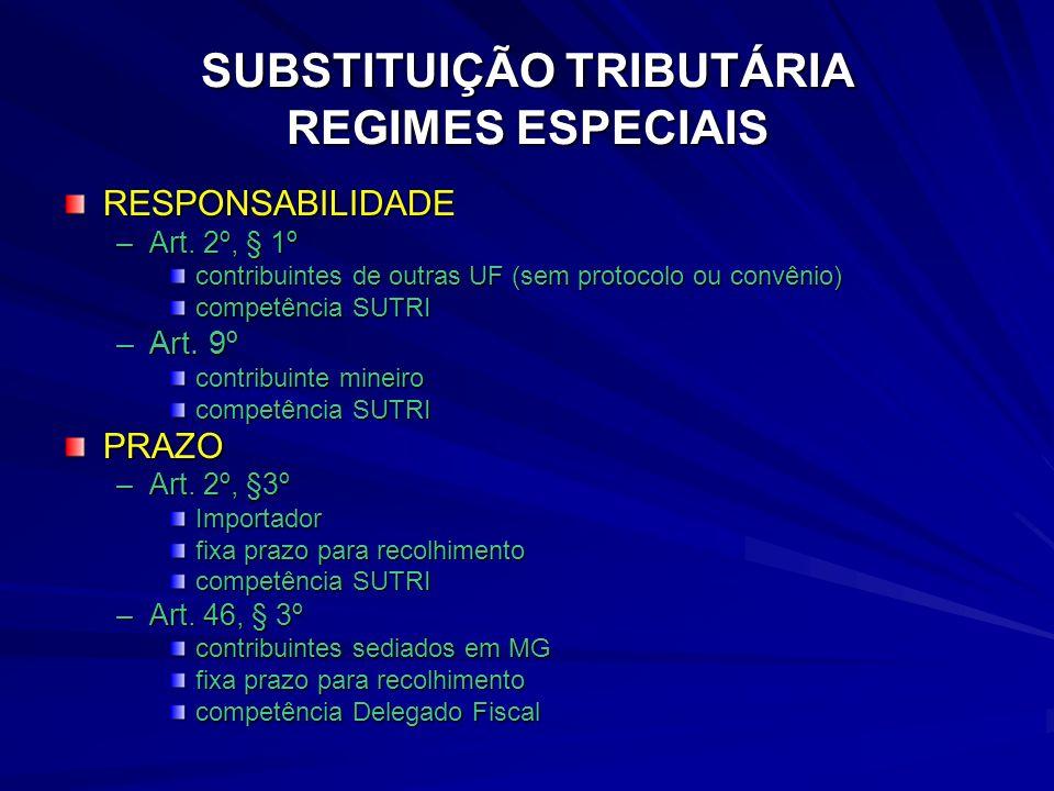 SUBSTITUIÇÃO TRIBUTÁRIA REGIMES ESPECIAIS RESPONSABILIDADE –Art.