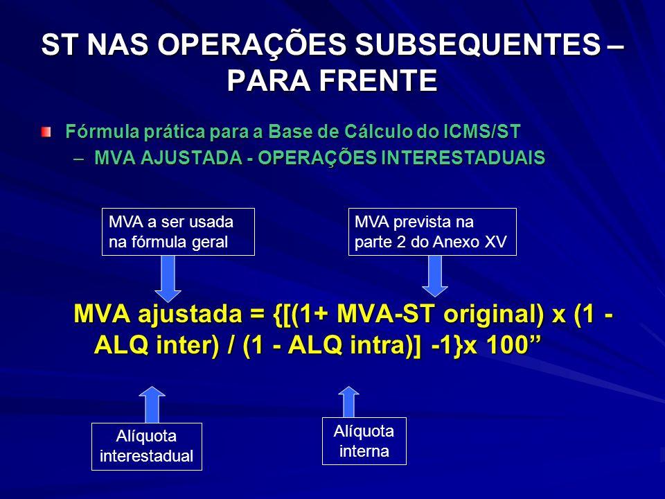 ST NAS OPERAÇÕES SUBSEQUENTES – PARA FRENTE Fórmula prática para a Base de Cálculo do ICMS/ST –MVA AJUSTADA - OPERAÇÕES INTERESTADUAIS MVA ajustada = {[(1+ MVA-ST original) x (1 - ALQ inter) / (1 - ALQ intra)] -1}x 100 Alíquota interestadual Alíquota interna MVA a ser usada na fórmula geral MVA prevista na parte 2 do Anexo XV