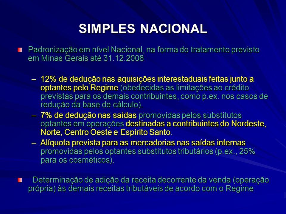 SIMPLES NACIONAL Padronização em nível Nacional, na forma do tratamento previsto em Minas Gerais até 31.12.2008 –12% de dedução nas aquisições interestaduais feitas junto a optantes pelo Regime (obedecidas as limitações ao crédito previstas para os demais contribuintes, como p.ex.