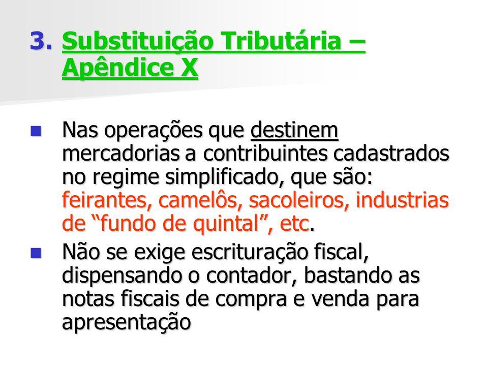 3.Substituição Tributária – Apêndice X Nas operações que destinem mercadorias a contribuintes cadastrados no regime simplificado, que são: feirantes, camelôs, sacoleiros, industrias de fundo de quintal, etc.