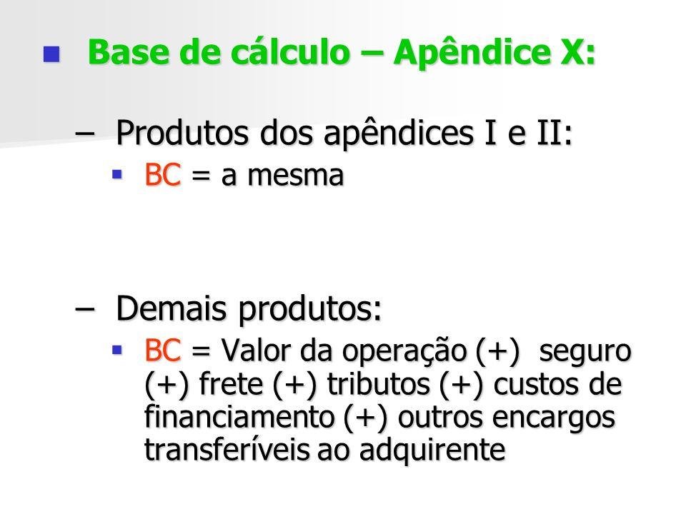 Base de cálculo – Apêndice X: Base de cálculo – Apêndice X: –Produtos dos apêndices I e II: BC = a mesma BC = a mesma –Demais produtos: BC = Valor da operação (+) seguro (+) frete (+) tributos (+) custos de financiamento (+) outros encargos transferíveis ao adquirente BC = Valor da operação (+) seguro (+) frete (+) tributos (+) custos de financiamento (+) outros encargos transferíveis ao adquirente