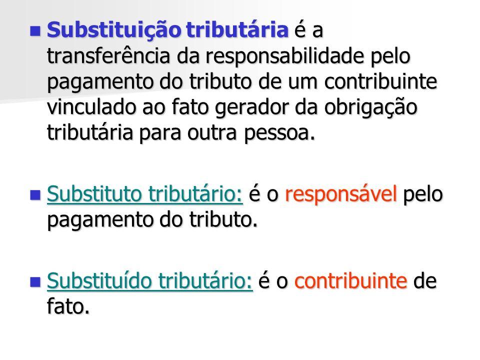 Modalidades de Substituição Tributária Substituição Tributária por operações anteriores: lei atribui ao destinatário das mercadorias ou serviços a obrigação do pagamento do tributo.