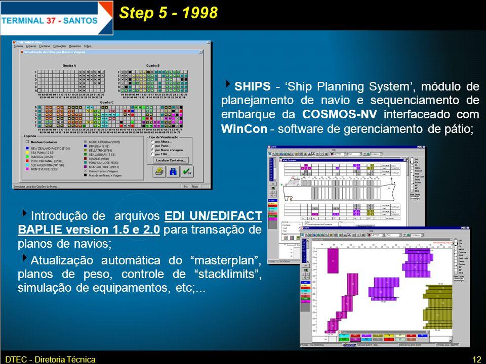 DTEC - Diretoria Técnica12 SHIPS - Ship Planning System, módulo de planejamento de navio e sequenciamento de embarque da COSMOS-NV interfaceado com Wi
