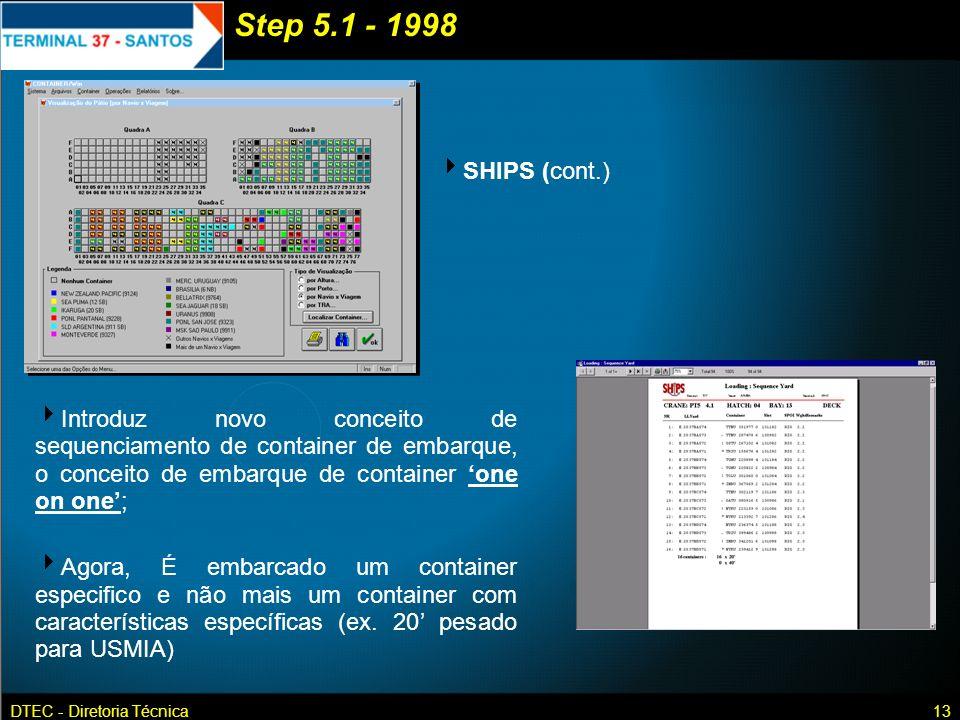DTEC - Diretoria Técnica13 SHIPS (cont.) Introduz novo conceito de sequenciamento de container de embarque, o conceito de embarque de container one on