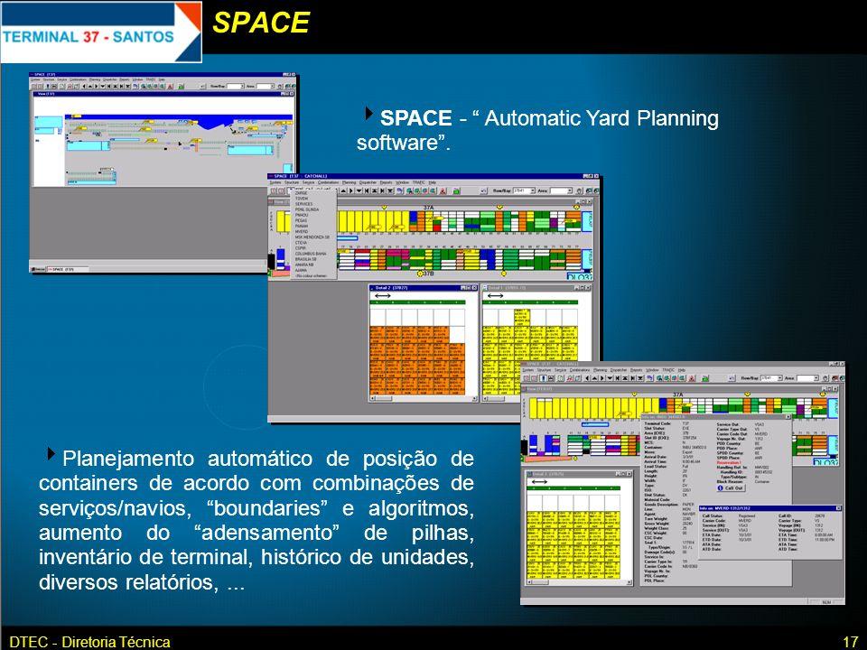DTEC - Diretoria Técnica17 SPACE - Automatic Yard Planning software. Planejamento automático de posição de containers de acordo com combinações de ser