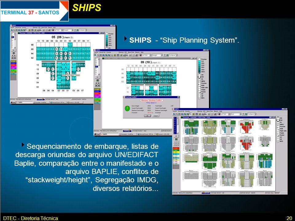 DTEC - Diretoria Técnica20 SHIPS - Ship Planning System. Sequenciamento de embarque, listas de descarga oriundas do arquivo UN/EDIFACT Baplie, compara