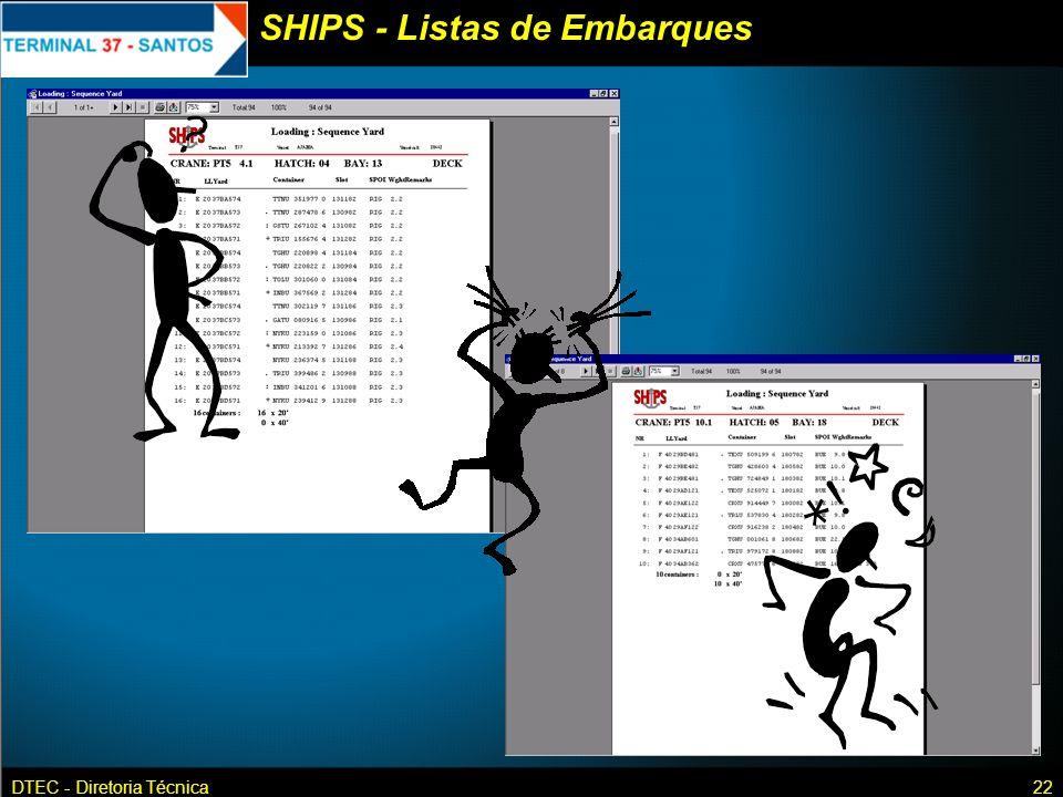 DTEC - Diretoria Técnica22 SHIPS - Listas de Embarques