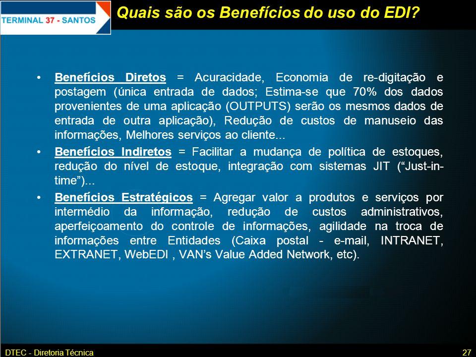 DTEC - Diretoria Técnica27 Quais são os Benefícios do uso do EDI? Benefícios Diretos = Acuracidade, Economia de re-digitação e postagem (única entrada