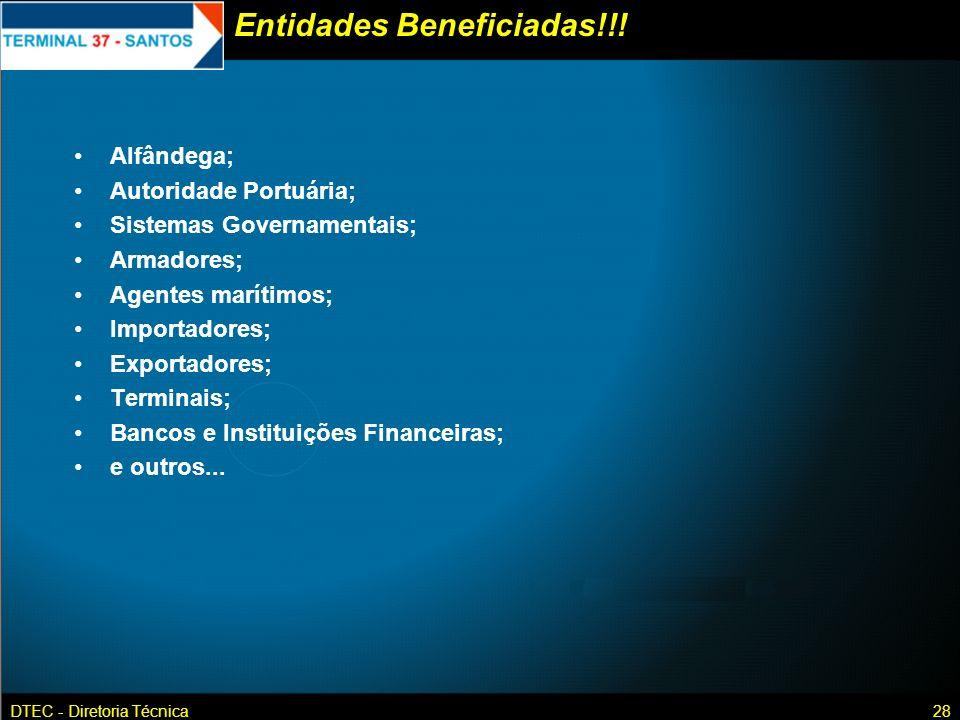 DTEC - Diretoria Técnica28 Entidades Beneficiadas!!! Alfândega; Autoridade Portuária; Sistemas Governamentais; Armadores; Agentes marítimos; Importado