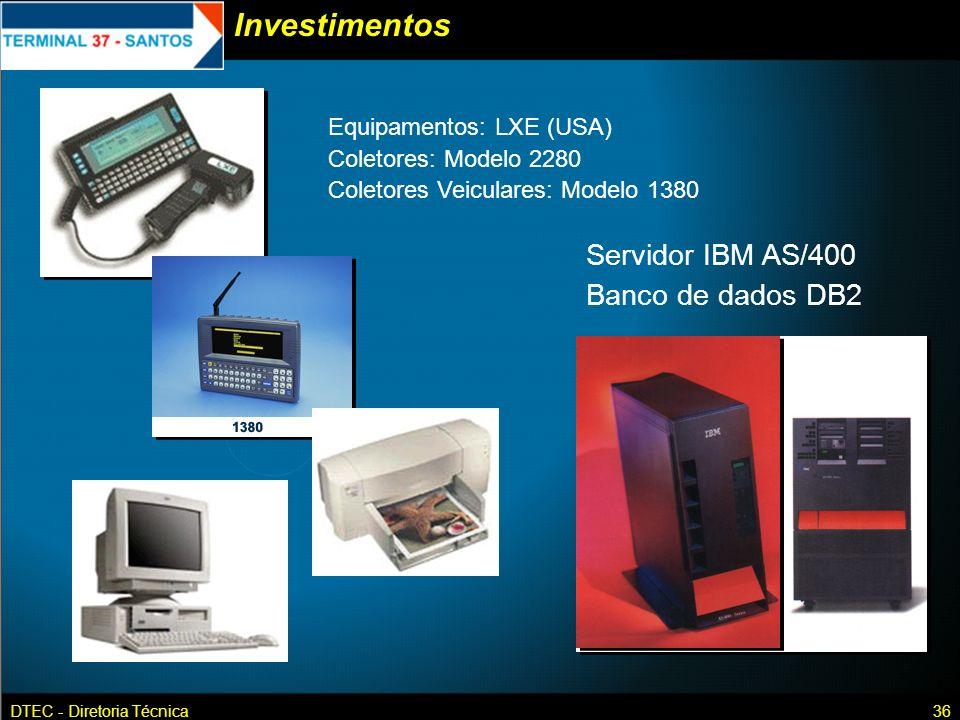 DTEC - Diretoria Técnica36 Investimentos Equipamentos: LXE (USA) Coletores: Modelo 2280 Coletores Veiculares: Modelo 1380 Servidor IBM AS/400 Banco de