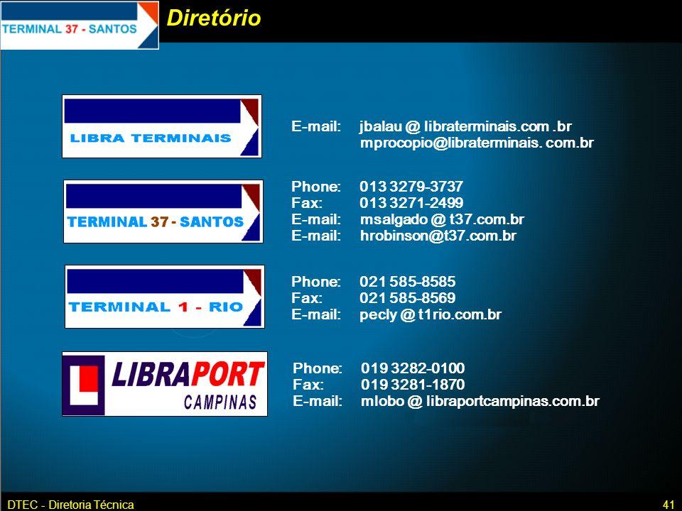 DTEC - Diretoria Técnica41 E-mail:jbalau @ libraterminais.com.br mprocopio@libraterminais. com.br Phone:021 585-8585 Fax:021 585-8569 E-mail:pecly @ t