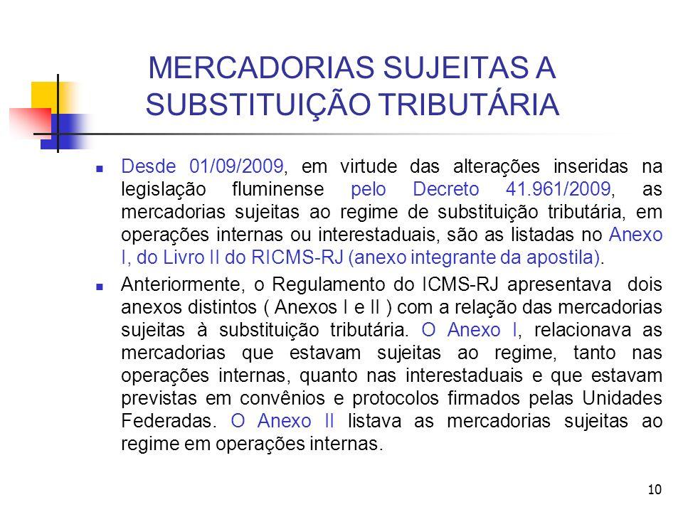 MERCADORIAS SUJEITAS A SUBSTITUIÇÃO TRIBUTÁRIA Desde 01/09/2009, em virtude das alterações inseridas na legislação fluminense pelo Decreto 41.961/2009, as mercadorias sujeitas ao regime de substituição tributária, em operações internas ou interestaduais, são as listadas no Anexo I, do Livro II do RICMS-RJ (anexo integrante da apostila).