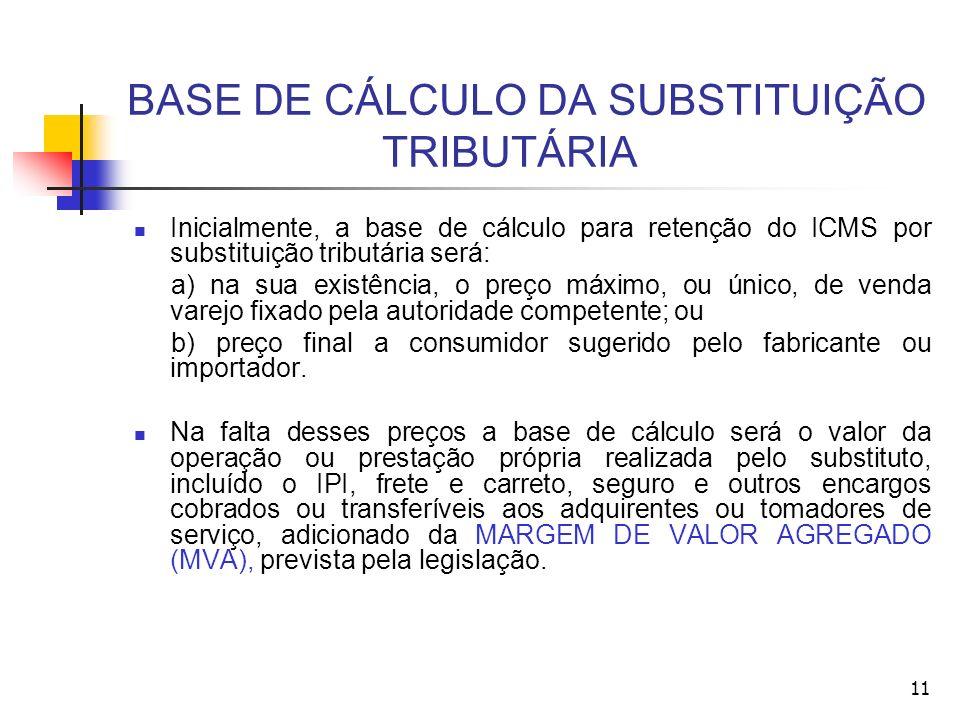 BASE DE CÁLCULO DA SUBSTITUIÇÃO TRIBUTÁRIA Inicialmente, a base de cálculo para retenção do ICMS por substituição tributária será: a) na sua existênci