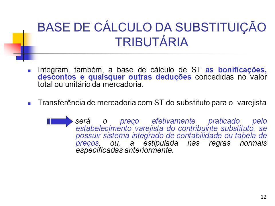 BASE DE CÁLCULO DA SUBSTITUIÇÃO TRIBUTÁRIA Integram, também, a base de cálculo de ST as bonificações, descontos e quaisquer outras deduções concedidas