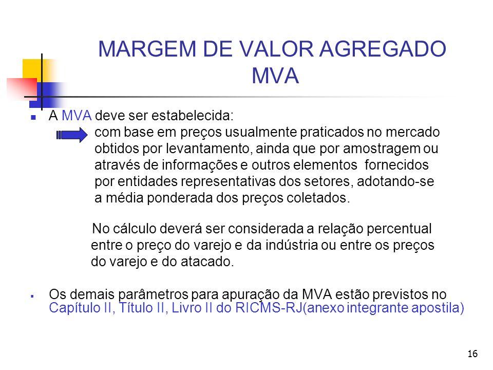 MARGEM DE VALOR AGREGADO MVA A MVA deve ser estabelecida: com base em preços usualmente praticados no mercado obtidos por levantamento, ainda que por