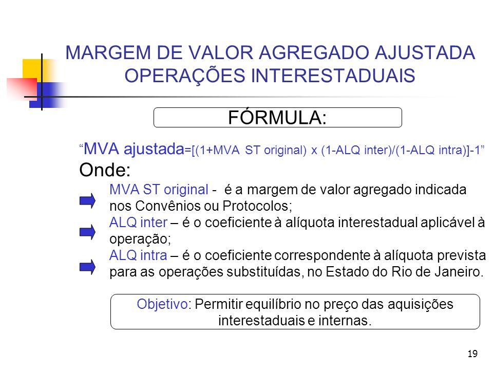 MARGEM DE VALOR AGREGADO AJUSTADA OPERAÇÕES INTERESTADUAIS MVA ajustada =[(1+MVA ST original) x (1-ALQ inter)/(1-ALQ intra)]-1 Onde: MVA ST original - é a margem de valor agregado indicada nos Convênios ou Protocolos; ALQ inter – é o coeficiente à alíquota interestadual aplicável à operação; ALQ intra – é o coeficiente correspondente à alíquota prevista para as operações substituídas, no Estado do Rio de Janeiro.