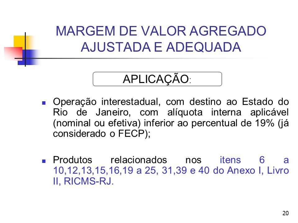 MARGEM DE VALOR AGREGADO AJUSTADA E ADEQUADA Operação interestadual, com destino ao Estado do Rio de Janeiro, com alíquota interna aplicável (nominal ou efetiva) inferior ao percentual de 19% (já considerado o FECP); Produtos relacionados nos itens 6 a 10,12,13,15,16,19 a 25, 31,39 e 40 do Anexo I, Livro II, RICMS-RJ.