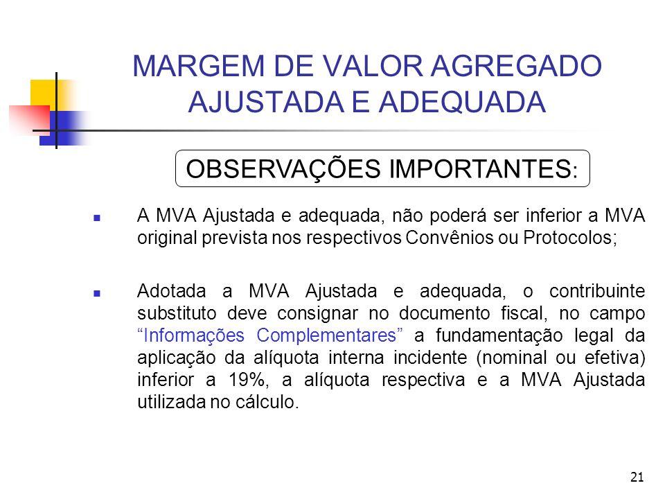 MARGEM DE VALOR AGREGADO AJUSTADA E ADEQUADA A MVA Ajustada e adequada, não poderá ser inferior a MVA original prevista nos respectivos Convênios ou P
