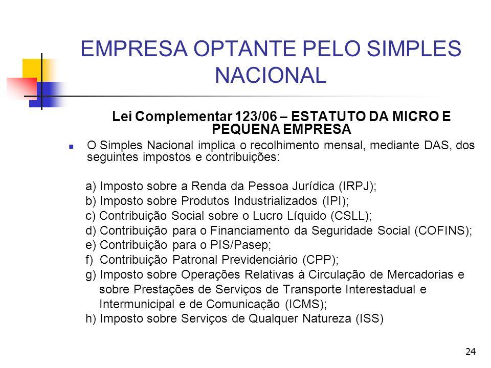 EMPRESA OPTANTE PELO SIMPLES NACIONAL Lei Complementar 123/06 – ESTATUTO DA MICRO E PEQUENA EMPRESA O Simples Nacional implica o recolhimento mensal,