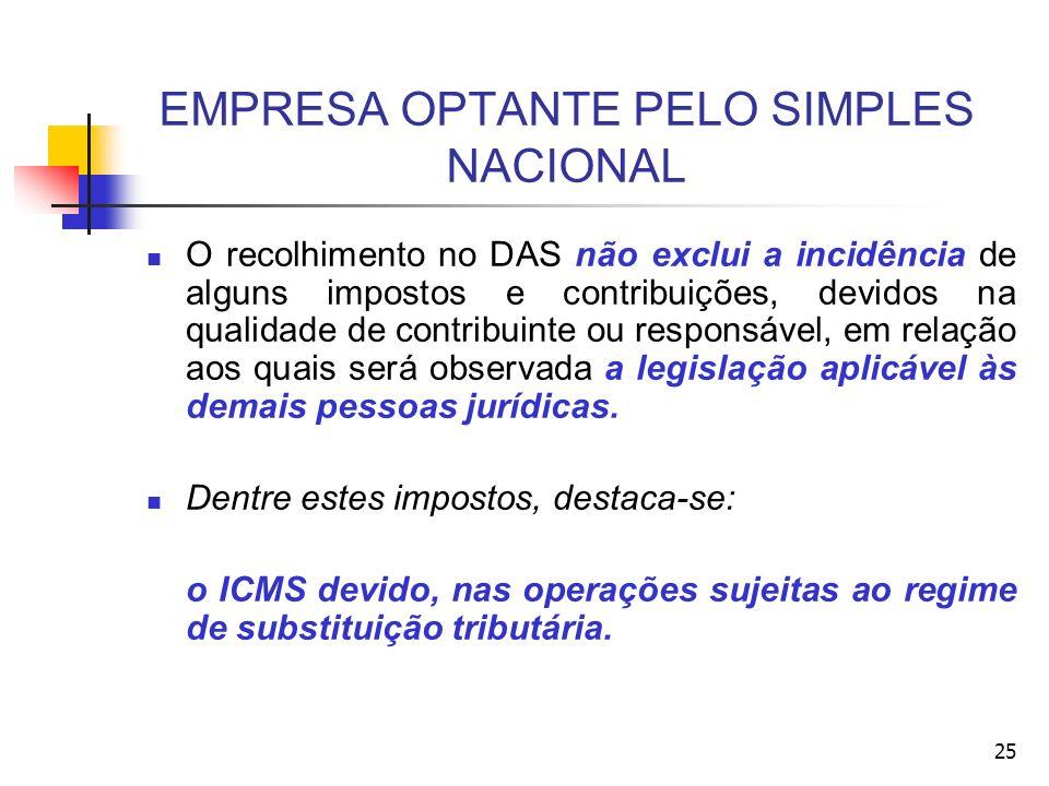 EMPRESA OPTANTE PELO SIMPLES NACIONAL O recolhimento no DAS não exclui a incidência de alguns impostos e contribuições, devidos na qualidade de contri