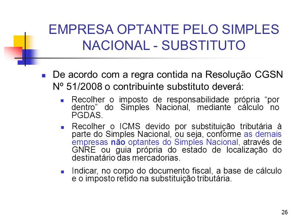 EMPRESA OPTANTE PELO SIMPLES NACIONAL - SUBSTITUTO De acordo com a regra contida na Resolução CGSN Nº 51/2008 o contribuinte substituto deverá: Recolh