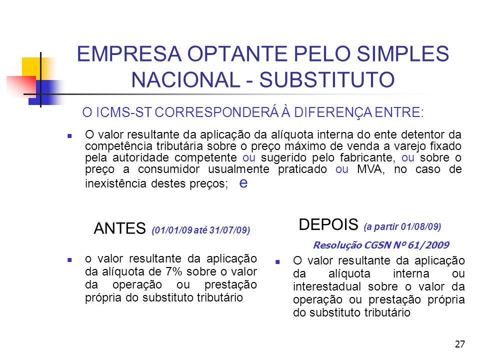 EMPRESA OPTANTE PELO SIMPLES NACIONAL - SUBSTITUTO ANTES (01/01/09 até 31/07/09) o valor resultante da aplicação da alíquota de 7% sobre o valor da operação ou prestação própria do substituto tributário DEPOIS (a partir 01/08/09) Resolução CGSN Nº 61/2009 O valor resultante da aplicação da alíquota interna ou interestadual sobre o valor da operação ou prestação própria do substituto tributário O ICMS-ST CORRESPONDERÁ À DIFERENÇA ENTRE: O valor resultante da aplicação da alíquota interna do ente detentor da competência tributária sobre o preço máximo de venda a varejo fixado pela autoridade competente ou sugerido pelo fabricante, ou sobre o preço a consumidor usualmente praticado ou MVA, no caso de inexistência destes preços; e 27