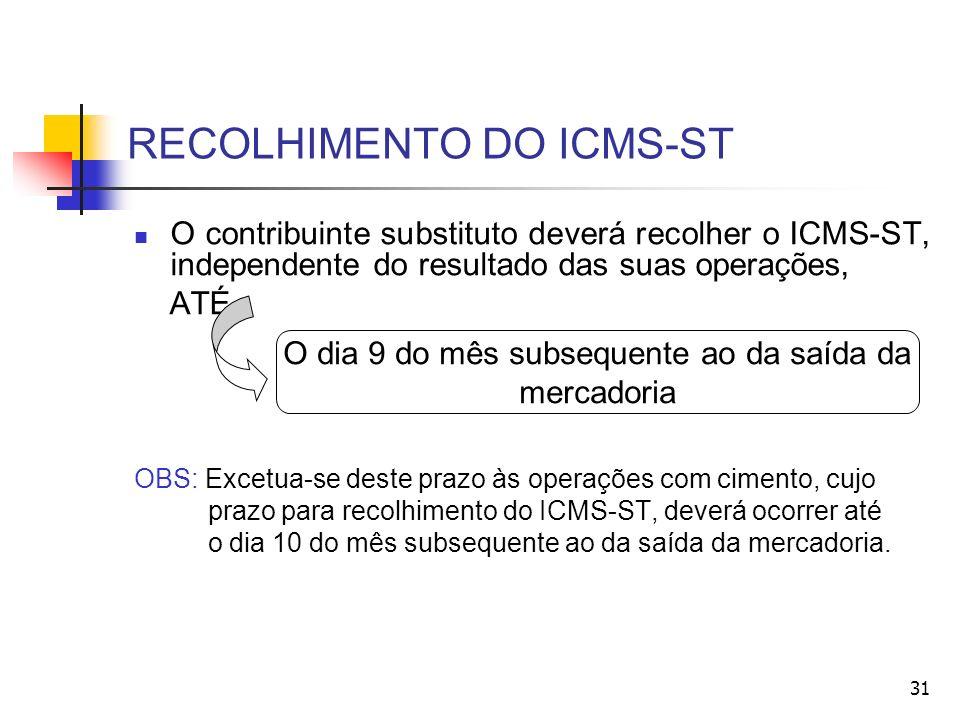 RECOLHIMENTO DO ICMS-ST O contribuinte substituto deverá recolher o ICMS-ST, independente do resultado das suas operações, ATÉ OBS: Excetua-se deste prazo às operações com cimento, cujo prazo para recolhimento do ICMS-ST, deverá ocorrer até o dia 10 do mês subsequente ao da saída da mercadoria.
