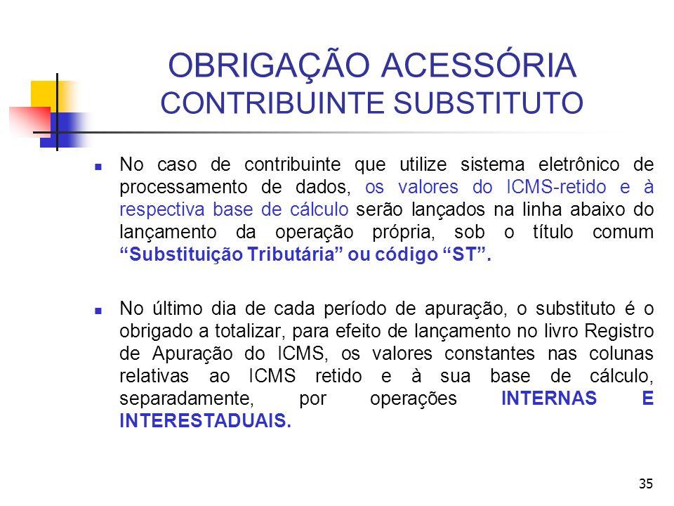 OBRIGAÇÃO ACESSÓRIA CONTRIBUINTE SUBSTITUTO No caso de contribuinte que utilize sistema eletrônico de processamento de dados, os valores do ICMS-retid