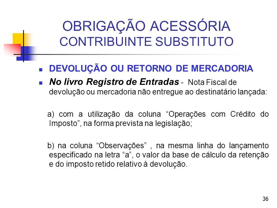 OBRIGAÇÃO ACESSÓRIA CONTRIBUINTE SUBSTITUTO DEVOLUÇÃO OU RETORNO DE MERCADORIA No livro Registro de Entradas - Nota Fiscal de devolução ou mercadoria