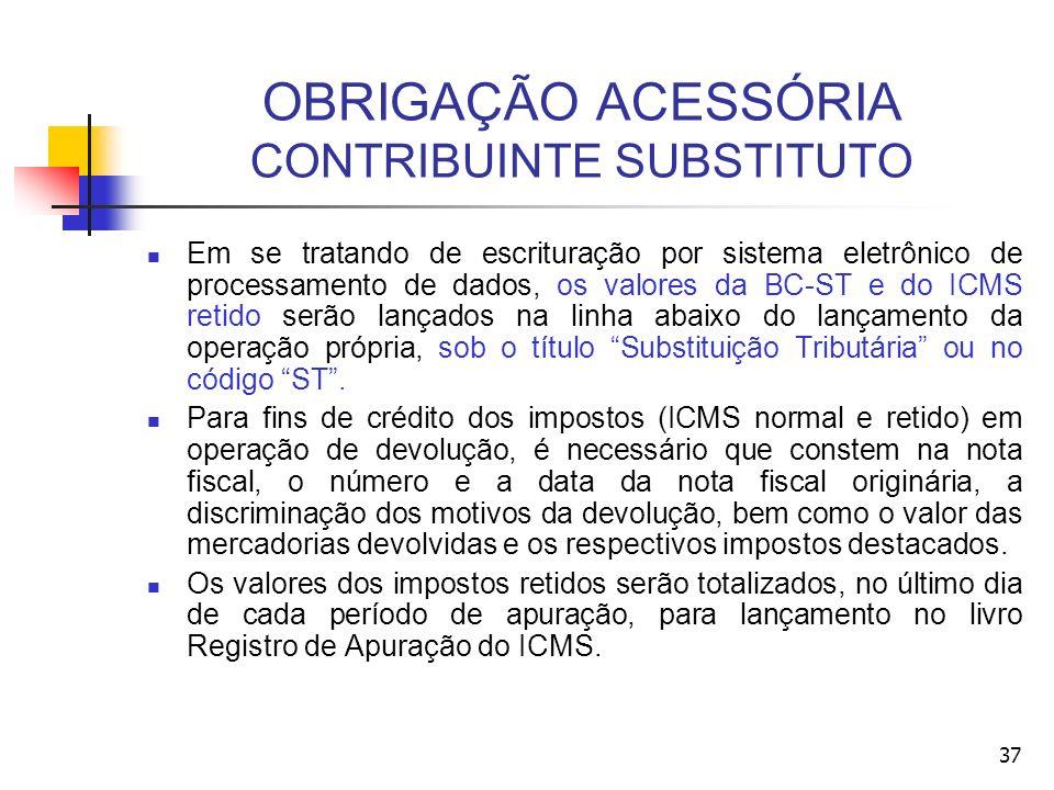 OBRIGAÇÃO ACESSÓRIA CONTRIBUINTE SUBSTITUTO Em se tratando de escrituração por sistema eletrônico de processamento de dados, os valores da BC-ST e do