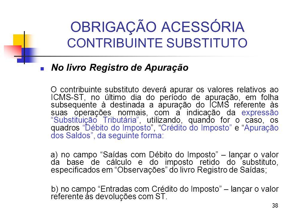 OBRIGAÇÃO ACESSÓRIA CONTRIBUINTE SUBSTITUTO No livro Registro de Apuração O contribuinte substituto deverá apurar os valores relativos ao ICMS-ST, no
