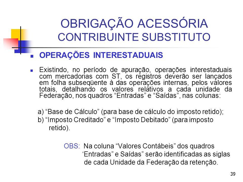 OBRIGAÇÃO ACESSÓRIA CONTRIBUINTE SUBSTITUTO OPERAÇÕES INTERESTADUAIS Existindo, no período de apuração, operações interestaduais com mercadorias com ST, os registros deverão ser lançados em folha subseqüente à das operações internas, pelos valores totais, detalhando os valores relativos a cada unidade da Federação, nos quadros Entradas e Saídas, nas colunas: a) Base de Cálculo (para base de cálculo do imposto retido); b) Imposto Creditado e Imposto Debitado (para imposto retido).