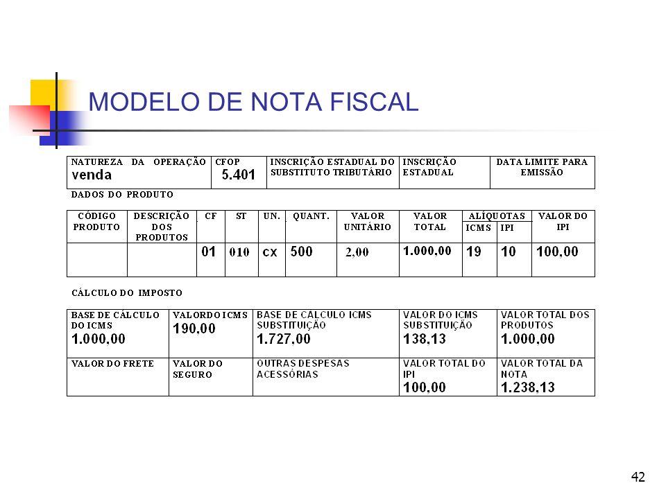MODELO DE NOTA FISCAL 42