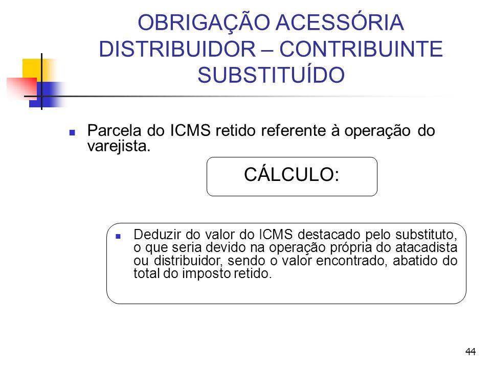 OBRIGAÇÃO ACESSÓRIA DISTRIBUIDOR – CONTRIBUINTE SUBSTITUÍDO Parcela do ICMS retido referente à operação do varejista. Deduzir do valor do ICMS destaca