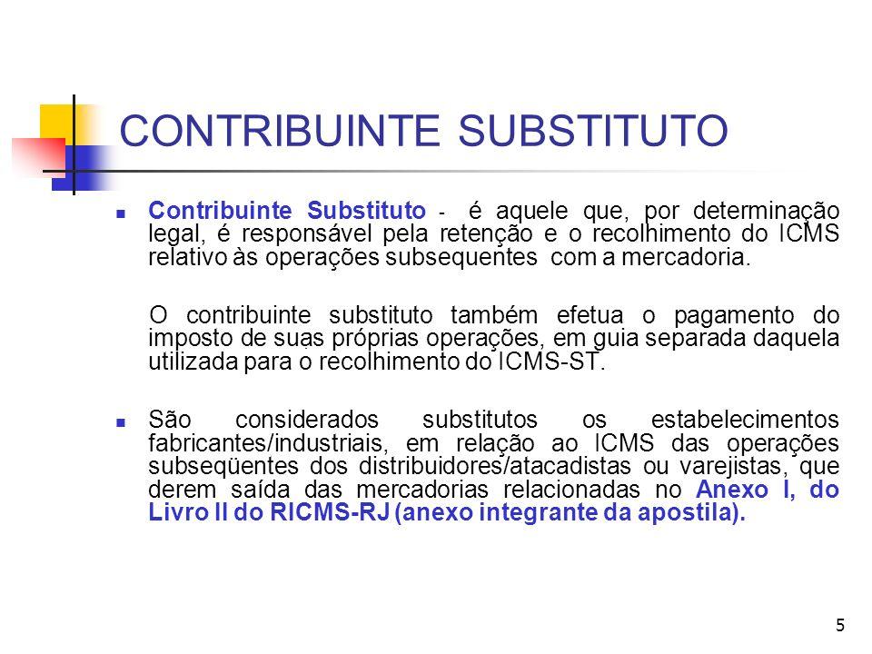 CONTRIBUINTE SUBSTITUTO Contribuinte Substituto - é aquele que, por determinação legal, é responsável pela retenção e o recolhimento do ICMS relativo