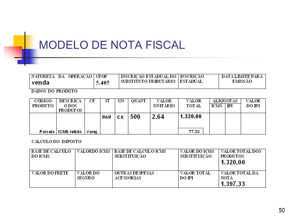 MODELO DE NOTA FISCAL 50