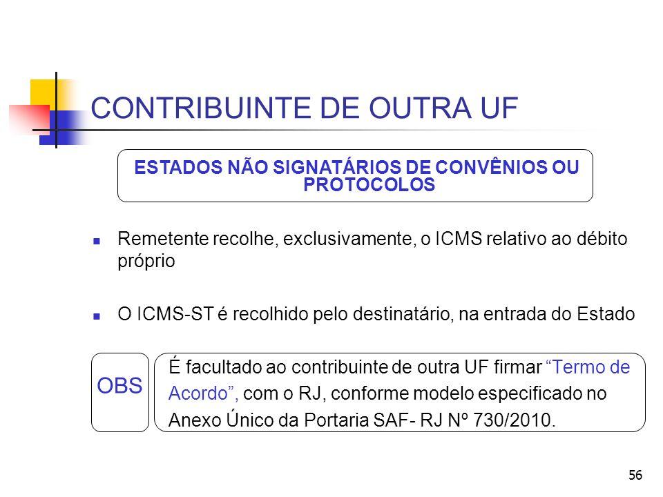 CONTRIBUINTE DE OUTRA UF Remetente recolhe, exclusivamente, o ICMS relativo ao débito próprio O ICMS-ST é recolhido pelo destinatário, na entrada do Estado É facultado ao contribuinte de outra UF firmar Termo de Acordo, com o RJ, conforme modelo especificado no Anexo Único da Portaria SAF- RJ Nº 730/2010.