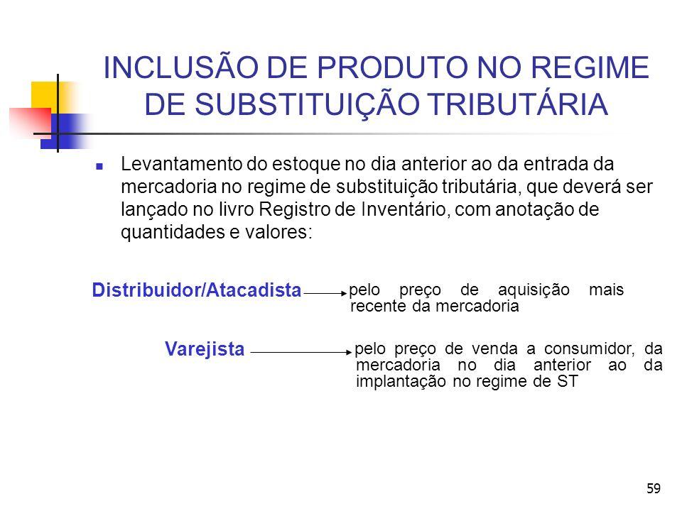 INCLUSÃO DE PRODUTO NO REGIME DE SUBSTITUIÇÃO TRIBUTÁRIA Levantamento do estoque no dia anterior ao da entrada da mercadoria no regime de substituição