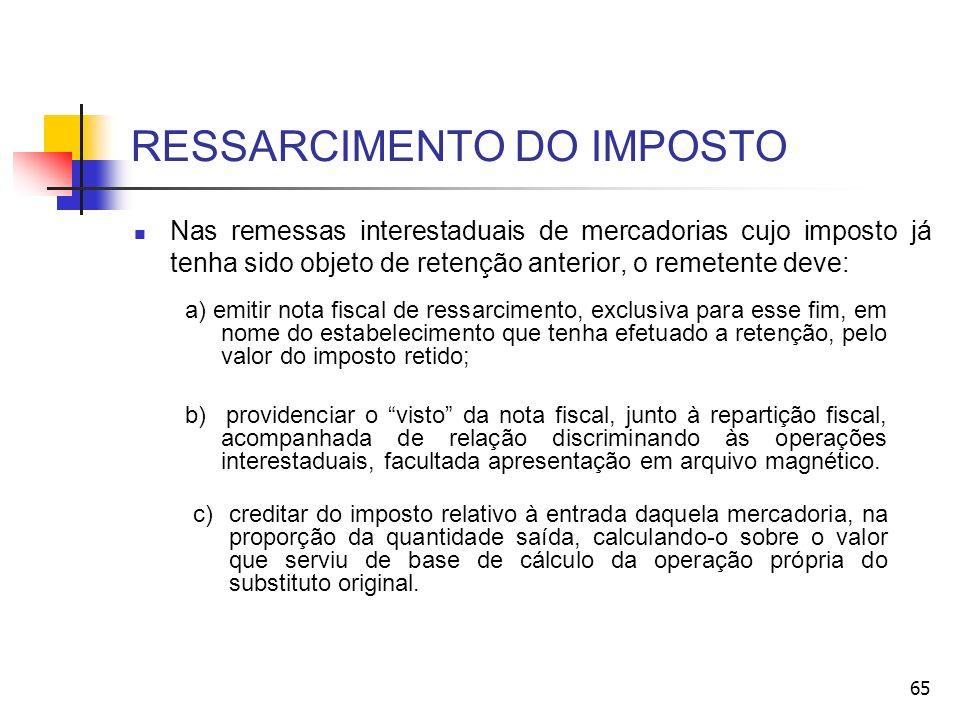 RESSARCIMENTO DO IMPOSTO Nas remessas interestaduais de mercadorias cujo imposto já tenha sido objeto de retenção anterior, o remetente deve: a) emiti