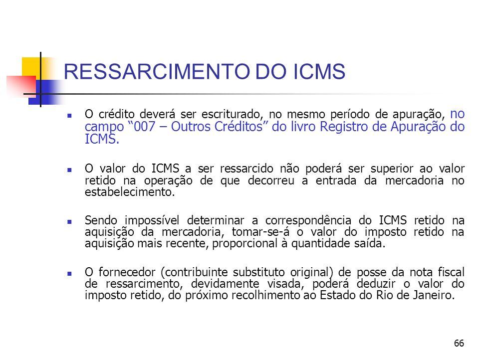 RESSARCIMENTO DO ICMS O crédito deverá ser escriturado, no mesmo período de apuração, no campo 007 – Outros Créditos do livro Registro de Apuração do ICMS.